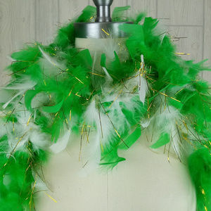 Unlisted Accessories - Green & Gold Sparkly Feather Costume Boa